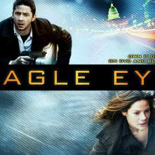Un wallpaper del film Eagle Eye, con Michelle Monaghan e Shia LaBeouf