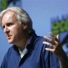 Comic-Con di San Diego 2009: James Cameron durante il panel di presentazione del suo film Avatar.