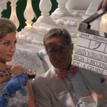 Manuela Abrugia e Paolo Bonolisi durante le riprese dello spot pubblicitario \'Lavazza a modo mio\'