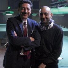 Sergio Castellitto e il regista VIncenzo Terracciano sul set del film Tris di donne e abiti nuziali