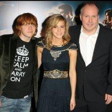 Emma Watson, Rupert Grint e il regista David Yates alla premiere del film 'Harry Potter e l'ordine della Fenice', a Parigi
