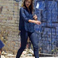 Jessica Alba sul set di Machete, il film di Robert Rodriguez ispirato al trailer apparso in Grindhouse.