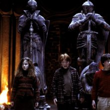 Emma Watson, Rupert Grint e Daniel Radcliffe in una sequenza di Harry Potter and the Sorcerer's Stone