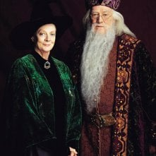 Maggie Smith (Professoressa McGranitt) e Richard Harris (Albus Silente) per il film Harry Potter e la pietra filosofale