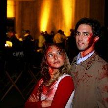 Hayden Panettiere e Milo Ventimiglia sul set della serie Heroes