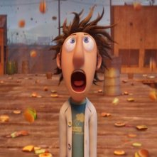 Sam Sparks e Flint Lockwood in una scena del film Piovono polpette
