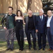 Cast e regista di Io, loro e Lara in occasione della presentazione del film a Roma, ad aprile 2009