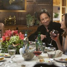 Diane Farr e David Duchovny in una scena dell'episodio Wish You Were Here di Californication