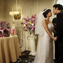 Josh Radnor e Lindsay Sloane in una scena dell'episodio Double Date di How I Met Your Mother