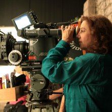 Stefania Sandrelli sul set di Christine Cristina, suo primo film da regista