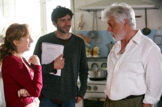 Lunetta Savino, il regista Luca Lucini e Michele Placido sul set del film Oggi Sposi