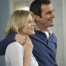 Julie Bowen e Ty Burrell in una scena dell'episodio The Incident della serie Modern Family