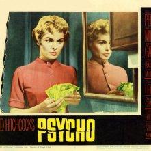 Janet Leigh in una lobbycard promozionale del film Psycho ( 1960 )