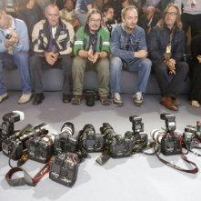 Festival di Roma 2009: obiettivi a terra in segno di protesta per i fotografi, 'stanchi di vedere inevase le richieste per condizioni di lavoro più dignitose'