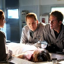 Marg Helgenberger, David Berman ed Eric Szmanda in una scena dell'episodio The Lost Girl di CSI
