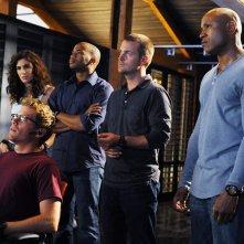 Adam Jamal Craig, LL Cool J, Chris O'Donnell, Daniela Ruah e Barrett Foa nell'episodio Killshot di NCIS: Los Angeles
