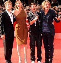 Festival di Roma 2009 - i volturi di New Moon Jamie Campbell Bower, Charlie Bewley e Cameron Bright con la sceneggiatrice Melissa Rosenberg