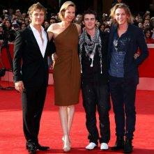 Festival di Roma 2009 - le star di New Moon Jamie Campbell Bower, Charlie Bewley e Cameron Bright con la sceneggiatrice Melissa Rosenberg