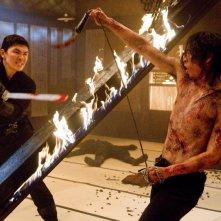 Rain in una scena d'azione del film Ninja Assassin