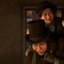 I personaggi di Bob Cratchit e Tiny Tim nel film A Christmas Carol (2009)