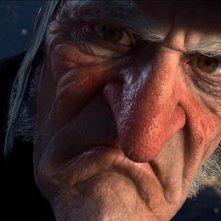 Un primo piano di Scrooge nel film d'animazione A Christmas Carol (2009)