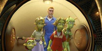 Eckle, Neera, Chuck Baker, Lem e Skiff in una scena del film d'animazione Planet 51