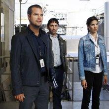 G (Chris O'Donnell), Max Tyrus (Gregory Sims) e Kensi (Daniela Ruah) in una scena dell'episodio Pushback di NCIS: Los Angeles