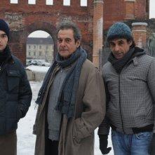 Ahmed Hefiane con Ennio Fantastichini e Paolo Briguglia in una sequenza del film La cosa giusta (2009)