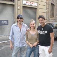 Marzia Fontana sul set di Io e Marylin di Pieraccioni con Luca Laurenti e Massimo Ceccherini