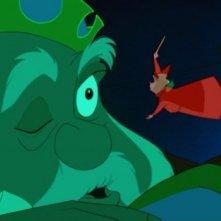 Re Uberto e la fata Flora in una scena del film d\'animazione La bella addormentata nel bosco