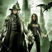 Un wallpaper di Van Helsing con Hugh Jackman e Kate Beckinsale