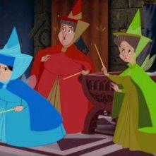 Le tre simpatiche fate del film d\'animazione La bella addormentata nel bosco ( 1959 )