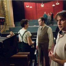 Richard Linklater e Christian McKay sul set del film Me and Orson Welles