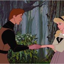 Il principe Filippo e la principessa Aurora in una scena de La bella addormentata nel bosco ( 1959 )