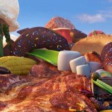 Un'immagine goliardica dal film Piovono polpette