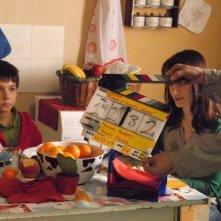 Crisula Stafida e Luca Gaggiano sul set del film Quando si diventa grandi