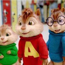 Gli allegri Theodore, Alvin e Simon in una scena del film Alvin Superstar 2