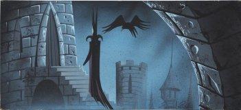 Malefica e il suo corvo in uno dei layout per il film d\'animazione La bella addormentata nel bosco