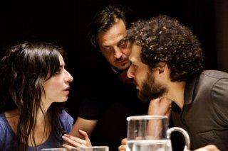 Claudio Santamaria e Sabrina Impacciatore con il regista Gabriele Muccino sul set del film Baciami ancora