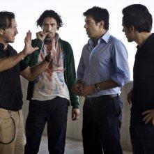 Gabriele Muccino, Marco Cocci, Pierfrancesco Favino e Stefano Accorsi sul set del film Baciami ancora