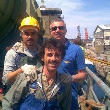 Foto dal set di Gli ultimi del paradiso con Ilir Jacellari, Massimo Ghini e Thomas Trabacchi
