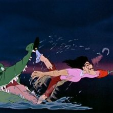 Capitan Uncino inseguito dal coccodrillo in una scena del film Le avventure di Peter Pan ( 1953 )