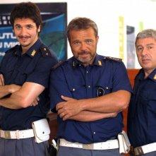 Claudio Amendola, Antonio Catania e Gabriele Mainetti nel primo episodio di Tutti per Bruno