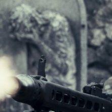 Un primo piano di un soldato tedesco tratto dal film L'uomo che verrà
