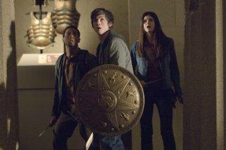 Logan Lerman, Brandon T. Jackson e Alexandra Daddario, protagonisti del film Percy Jackson e gli dei dell'Olimpo: Il ladro di fulmini