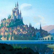 Un concept art per il castello del film d\'animazione Raperonzolo (Rapunzel 2010)