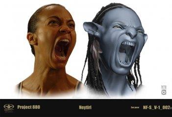 Un'espressione facciale dell'attrice Zoe Saldana copiata poi sul suo personaggio per il film Avatar