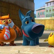 Portatile e Senzanome nel bel mezzo del loro piano di salvataggio in una scena di Cuccioli - Il codice di Marco Polo