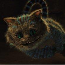 Primo piano dello Stregatto di Alice in Wonderland, adattamento della fiaba di Lewis Carroll diretto da Tim Burton