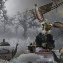 L'ansioso Leprotto Marzolino all'ora del tè nel film Alice in Wonderland, diretto da Tim Burton